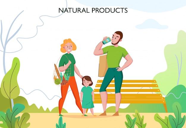 Zero Marnotrawstwa W Stylu życia Z Młodą, Dopasowaną Rodziną Na Zewnątrz Dzięki Ekologicznym, Zrównoważonym, Naturalnym Produktom Darmowych Wektorów