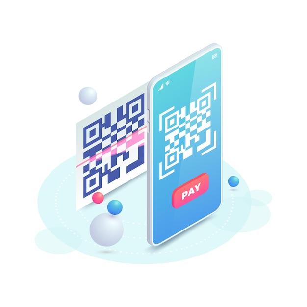 Zeskanuj Kod Qr Na Ekranie Smartfona. Skanowanie Koncepcji Kodu Kreskowego, Ilustracja Izometryczna Płatności Qr. Płatność Zbliżeniowa Online Z Elektronicznym Potwierdzeniem Zapłaty. Cyfrowe Płatności Bezgotówkowe Za Pomocą Telefonu Komórkowego. Premium Wektorów