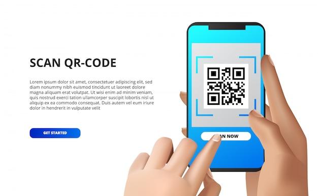 Zeskanuj kod qr z telefonu komórkowego. ręka trzyma smartfona z przyciskiem dotykowym. w przypadku płatności mobilnych pobierz aplikację, Premium Wektorów