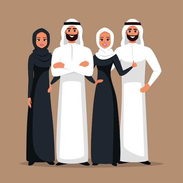 Zespół arabian business mężczyzn i kobiet Premium Wektorów