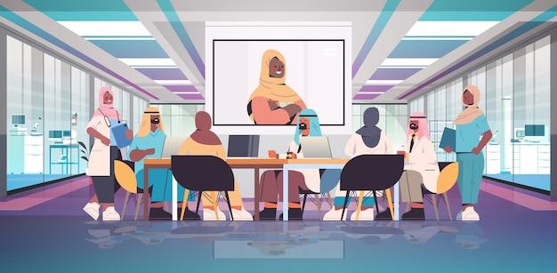 Zespół Arabskich Specjalistów Medycznych O Wideokonferencji Z Kobietą Czarną Muzułmańską Lekarzem Medycyna Koncepcja Opieki Zdrowotnej Szpital Sala Konferencyjna Wnętrze Poziome Pełnej Długości Ilustracji Wektorowych Premium Wektorów