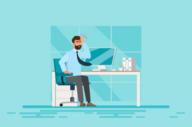 Zespół Biurowy, Choroba Biznesmena Od Ciężkiej Pracy. Koncepcja Zdrowia. Ilustracji Wektorowych Premium Wektorów