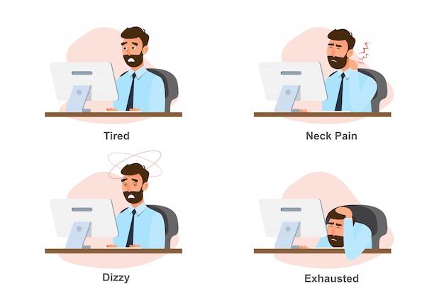 Zespół biurowy, choroba biznesmena od ciężkiej pracy Premium Wektorów