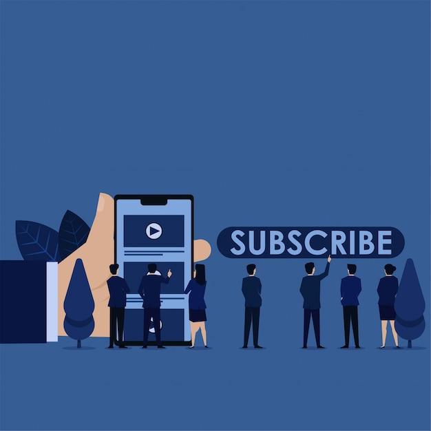 Zespół biznesowy kliknij kanał wideo i zobacz nawigację po przycisku subskrypcji. Premium Wektorów