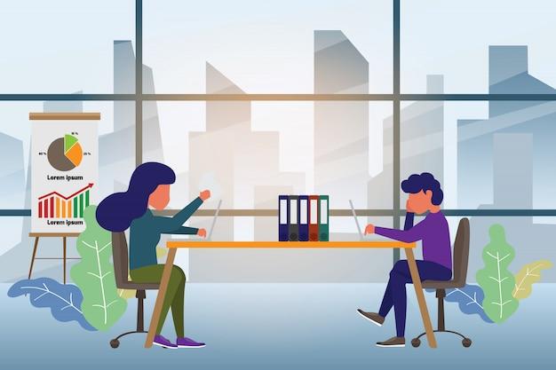 Zespół biznesowy pracujący razem przy biurku i dyskusja. Premium Wektorów