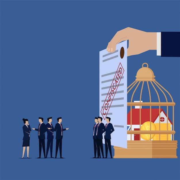 Zespół Biznesowy Skarży Się Na Skonfiskowane Towary Od Swojej Firmy Premium Wektorów