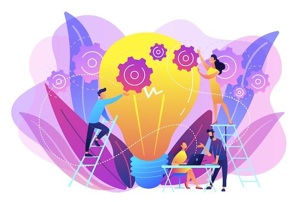 Zespół Biznesowy Stawiając Biegi Na Dużą żarówkę. Nowa Inżynieria Pomysłów, Innowacje W Modelu Biznesowym I Koncepcja Myślenia Projektowego Darmowych Wektorów