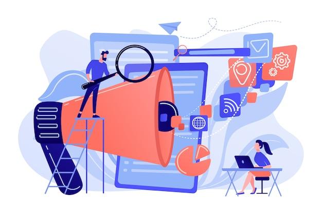 Zespół Biznesowy Z Ikonami Megafonu I Mediów Pracuje Nad Optymalizacją Wyszukiwarek. Marketing Online, Koncepcja Narzędzi Seo Na Białym Tle. Darmowych Wektorów