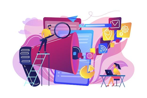 Zespół Biznesowy Z Ikonami Megafonu I Mediów Pracuje Nad Optymalizacją Wyszukiwarek. Marketing Online, Koncepcja Narzędzi Seo Darmowych Wektorów