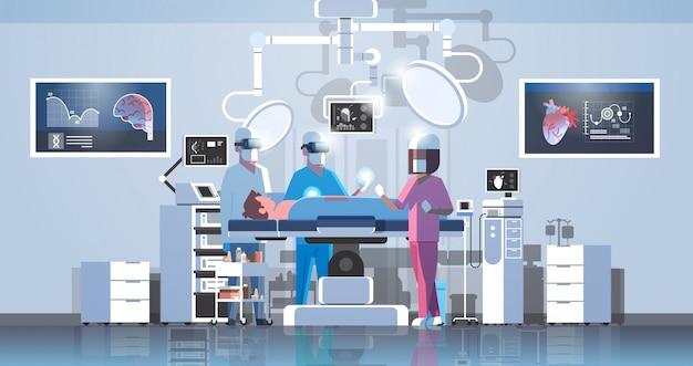 Zespół Chirurgów Otaczających Pacjenta Podczas Stołu Operacyjnego Premium Wektorów