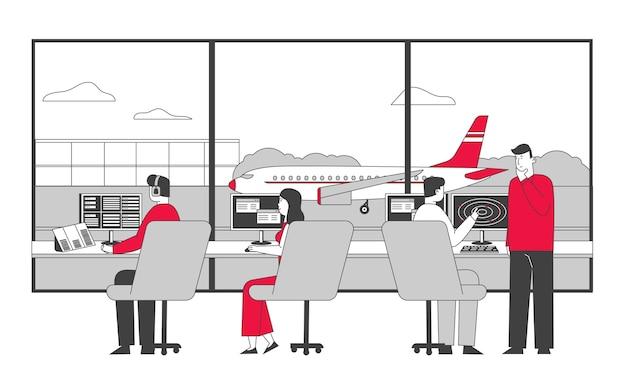 Zespół Kontrolera Lotnictwa Pracujący Z Samolotem Na Pasie Startowym Premium Wektorów