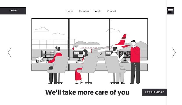 Zespół Kontrolera Powietrza Pracujący Z Samolotem Na Szablonie Strony Docelowej Pasa Startowego Premium Wektorów