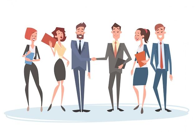 Zespół Ludzi Biznesu Zespół Zasobów Ludzkich Biznesmen Strony Wstrząsnąć Umowy Premium Wektorów