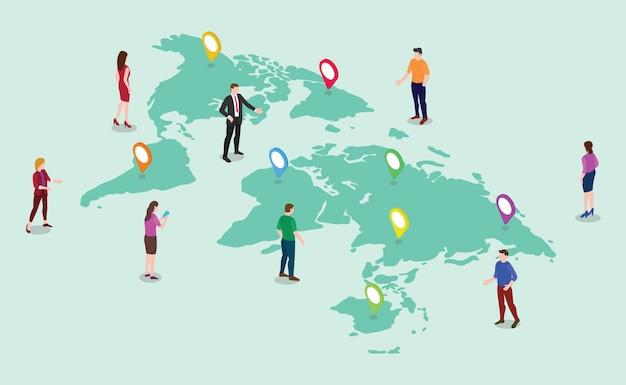 Zespół ludzi mężczyzn i kobiet z mapami świata Premium Wektorów