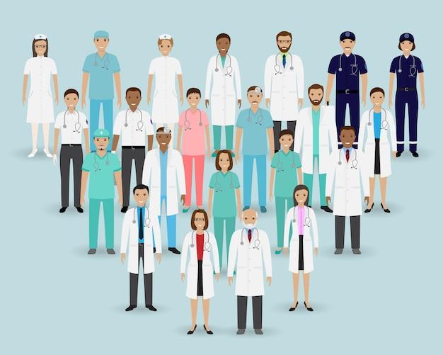 Zespół medyczny. grupuj lekarzy, pielęgniarki i ratowników medycznych. banner medycyny. personel szpitala. Premium Wektorów