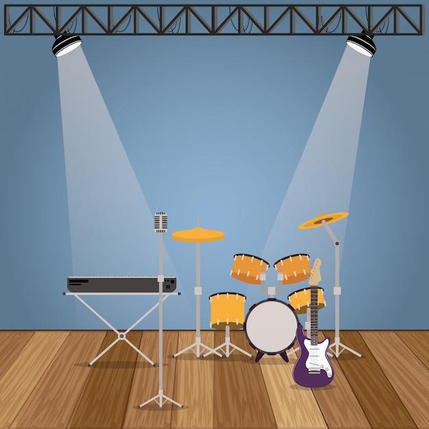 Zespół Muzyczny Zestaw Ikon Instrumentów Premium Wektorów