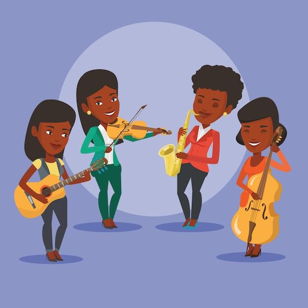 Zespół Muzyków Grających Na Instrumentach Muzycznych. Premium Wektorów
