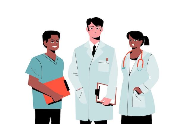 Zespół Pracowników Służby Zdrowia Lekarzy Premium Wektorów