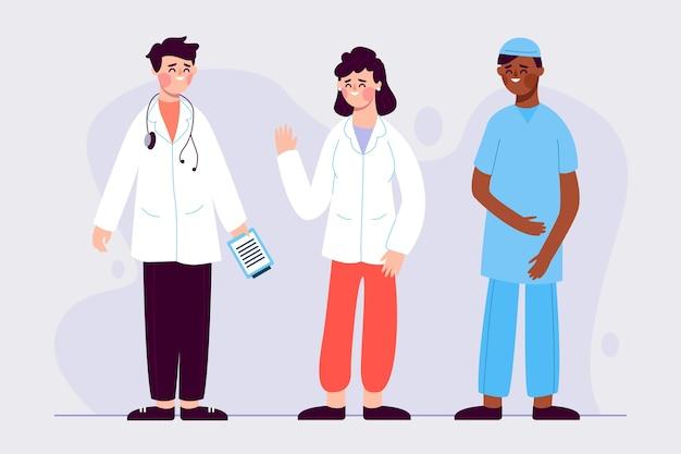 Zespół Pracowników Służby Zdrowia Z Lekarzem I Pielęgniarką Darmowych Wektorów