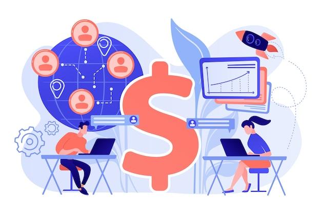 Zespół Sprzedawców Pracujący Zdalnie Z Klientami Na Całym świecie I Znakiem Dolara. Sprzedaż Wirtualna, Metoda Sprzedaży Zdalnej, Ilustracja Koncepcji Wirtualnego Zespołu Sprzedaży Darmowych Wektorów