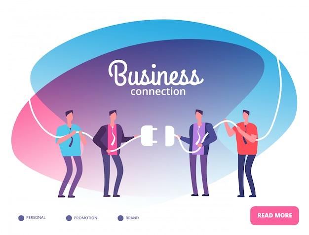 Zespoły Biznesowe Podłączają Wtyczkę. Biznesmeni łączący Złącza. Koncepcja Wektor Współpracy I Wzrostu Zespołu Premium Wektorów