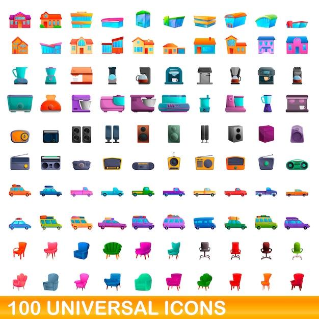Zestaw 100 Uniwersalnych Ikon, Stylu Cartoon Premium Wektorów