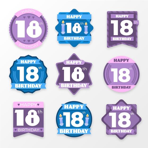 Zestaw 18 Odznak Urodzinowych Premium Wektorów