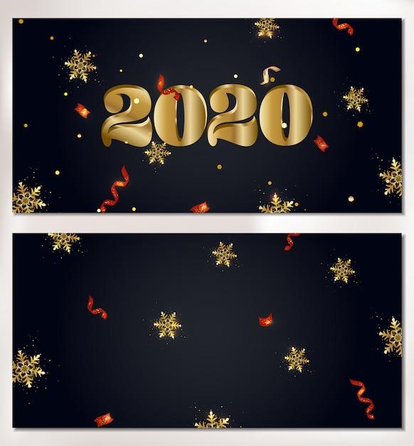 Zestaw 2020 szczęśliwego nowego roku płatki śniegu transparent, błyszczy, światła, konfetti. Premium Wektorów