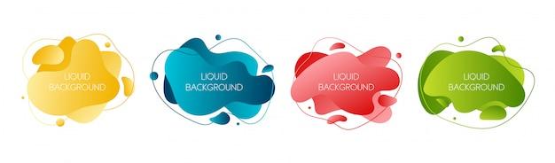 Zestaw 4 abstrakcyjnych nowoczesnych płynnych elementów graficznych Premium Wektorów