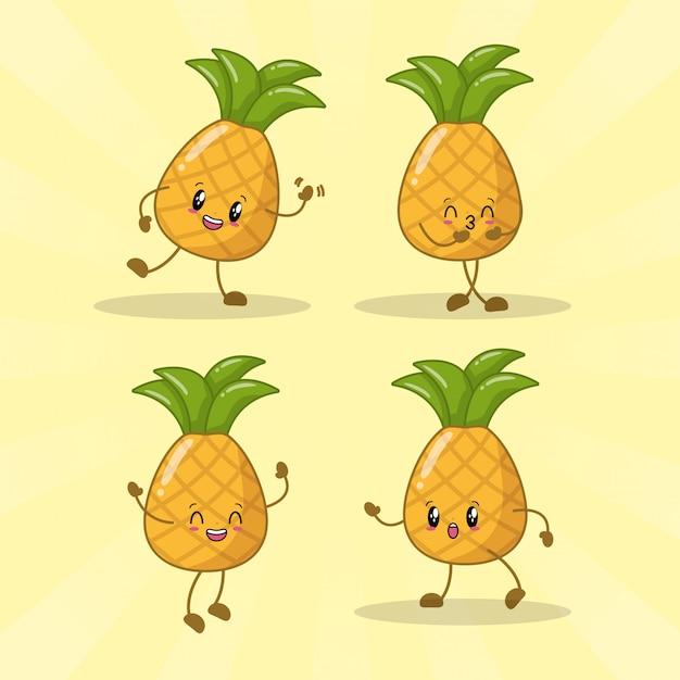 Zestaw 4 Ananasów Kawaii Z Różnymi Wyrazami Szczęścia Darmowych Wektorów