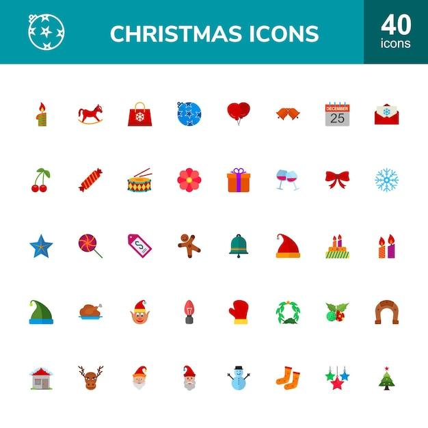 Zestaw 40 świątecznych Ikon Premium Wektorów