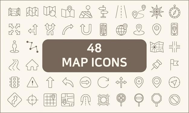 Zestaw 48 Stylów Map I Linii Nawigacyjnych. Zawiera Takie Ikony, Jak Mapa, Kierunek, Droga, Nawigacja Gps, Trasa, Znak Kierunku, Znak Drogowy, Strzałka I Inne. Premium Wektorów