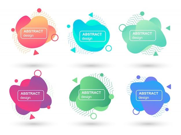 Zestaw Abstrakcyjne Cieczy Kształtuje Nowoczesne Elementy Graficzne Premium Wektorów