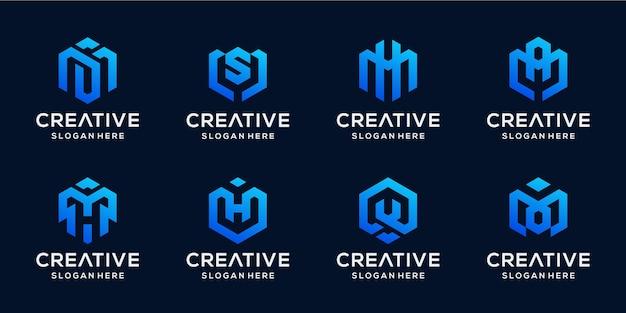 Zestaw Abstrakcyjnych Inicjałów W Pakiecie Logo W Kształcie Sześciokąta Premium Wektorów