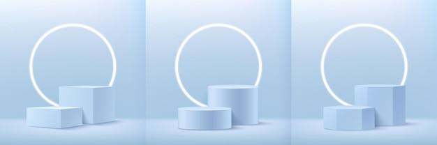 Zestaw Abstrakcyjnych Kostek Okrągłych I Sześciokątnych Do Prezentacji Produktu Premium Wektorów