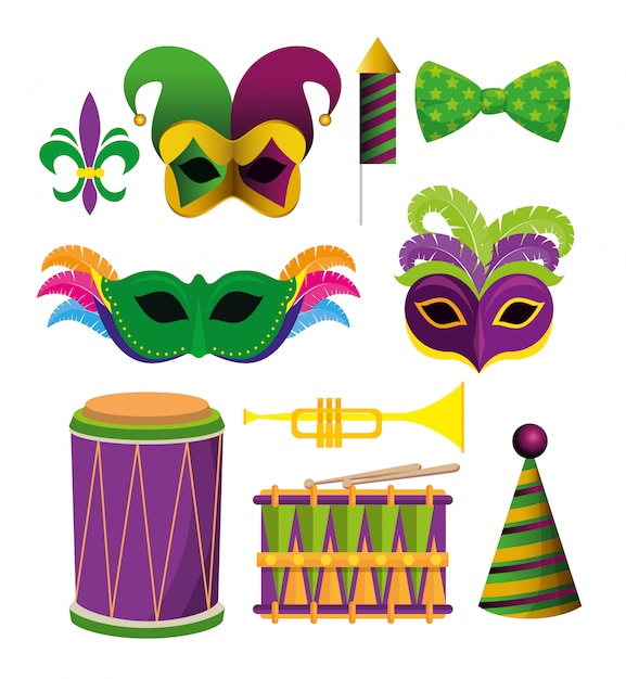 Zestaw akcesoriów dekoracyjnych mardi gras na festiwal Darmowych Wektorów