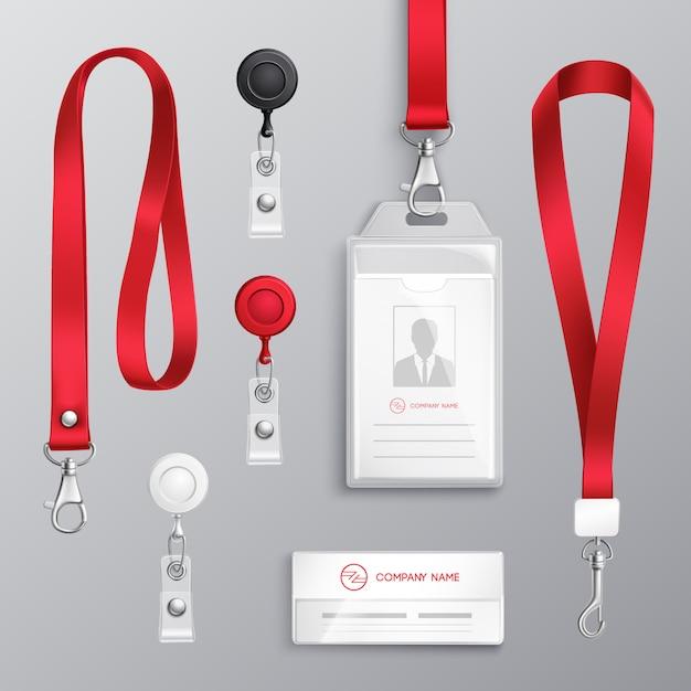 Zestaw Akcesoriów Do Odznaki Karty Identyfikacyjnej Darmowych Wektorów