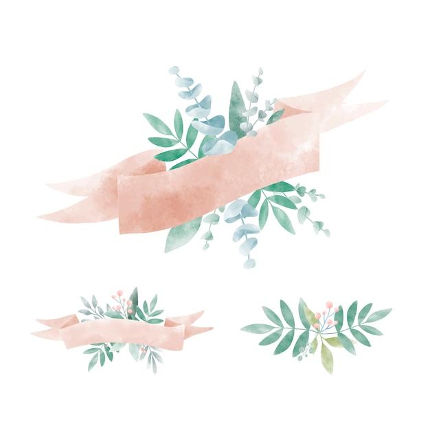 Zestaw akwarela liści z banerem wektor Darmowych Wektorów