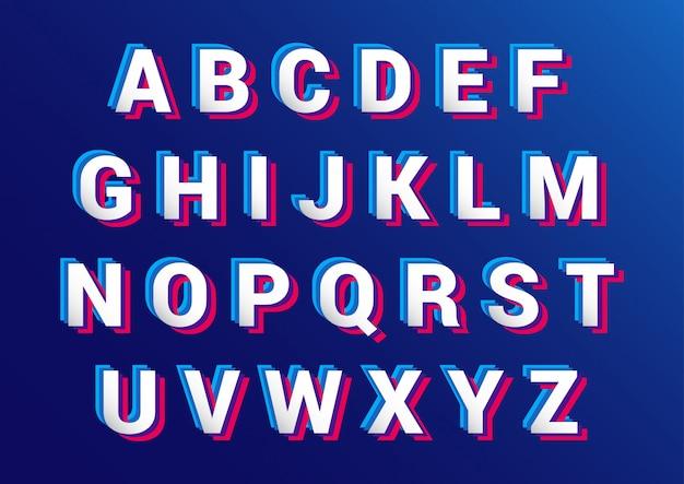 Zestaw alfabetów retro efekt 3d Premium Wektorów