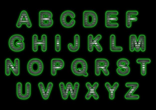 Zestaw Alfabetów Zielony Uchwyt Premium Wektorów