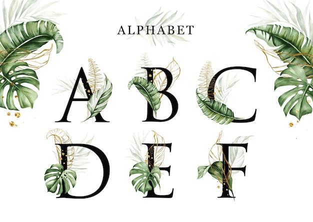 Zestaw Alfabetu Akwarela Tropikalnych Liści Abcdef Ze Złotymi Liśćmi Premium Wektorów