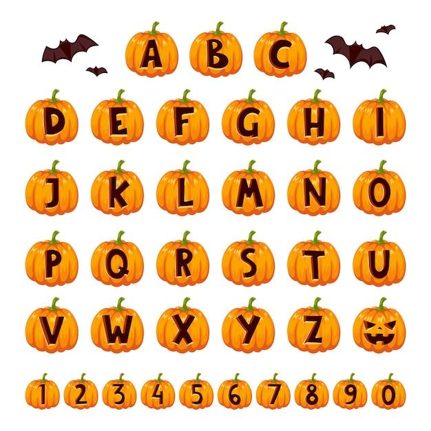 Zestaw Alfabetu Czcionek Halloween. Premium Wektorów