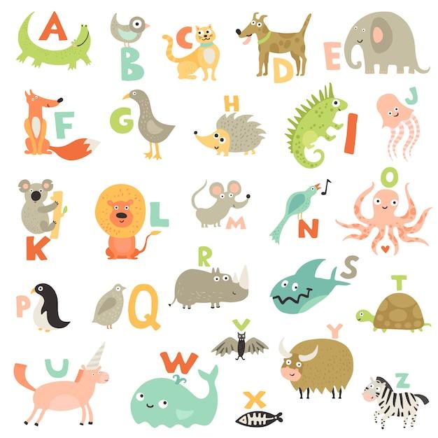 Zestaw Alfabetu Dla Dzieci Darmowych Wektorów
