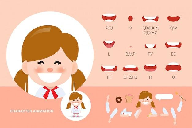 Zestaw Animacji Usta Dla Dzieci. Synchronizacja Animowanych Postaci Animacji Dla Dzieci. Premium Wektorów