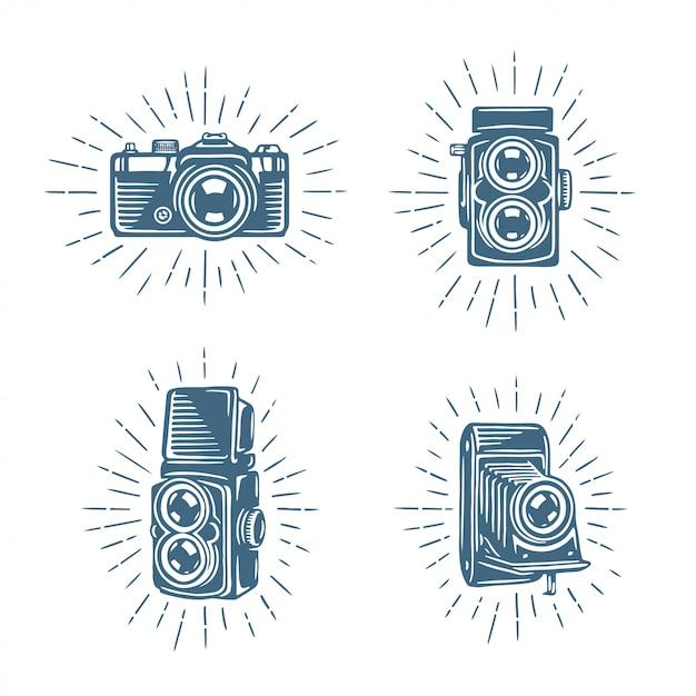 Zestaw aparatów fotograficznych retro Premium Wektorów