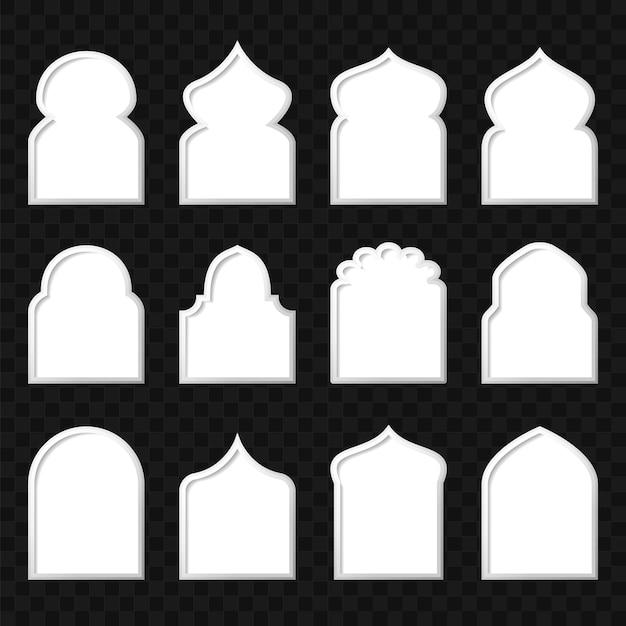Zestaw arabski windows szablon Premium Wektorów