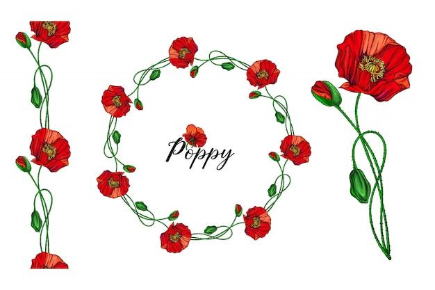 Zestaw aranżacji kwiatowych z czerwonymi kwiatami maku Premium Wektorów