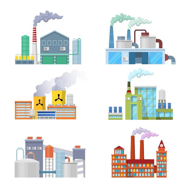 Zestaw Architektoniczny Budynków Fabryki Przemysłowej. Premium Wektorów