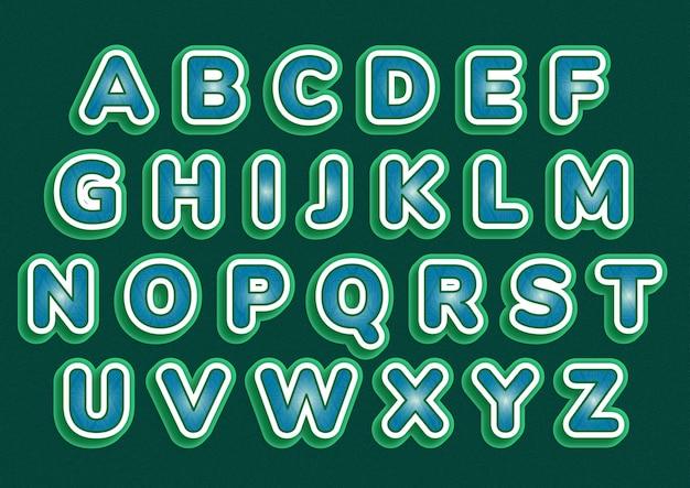 Zestaw Artystyczny Zielony Biały Alfabetów Premium Wektorów