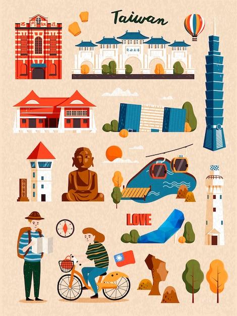 Zestaw Atrakcji Tajwanu, Słynna Architektura I Punkt Orientacyjny Na Beżowym Tle Premium Wektorów